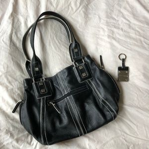 Black Tignanello Leather Shoulder Bag